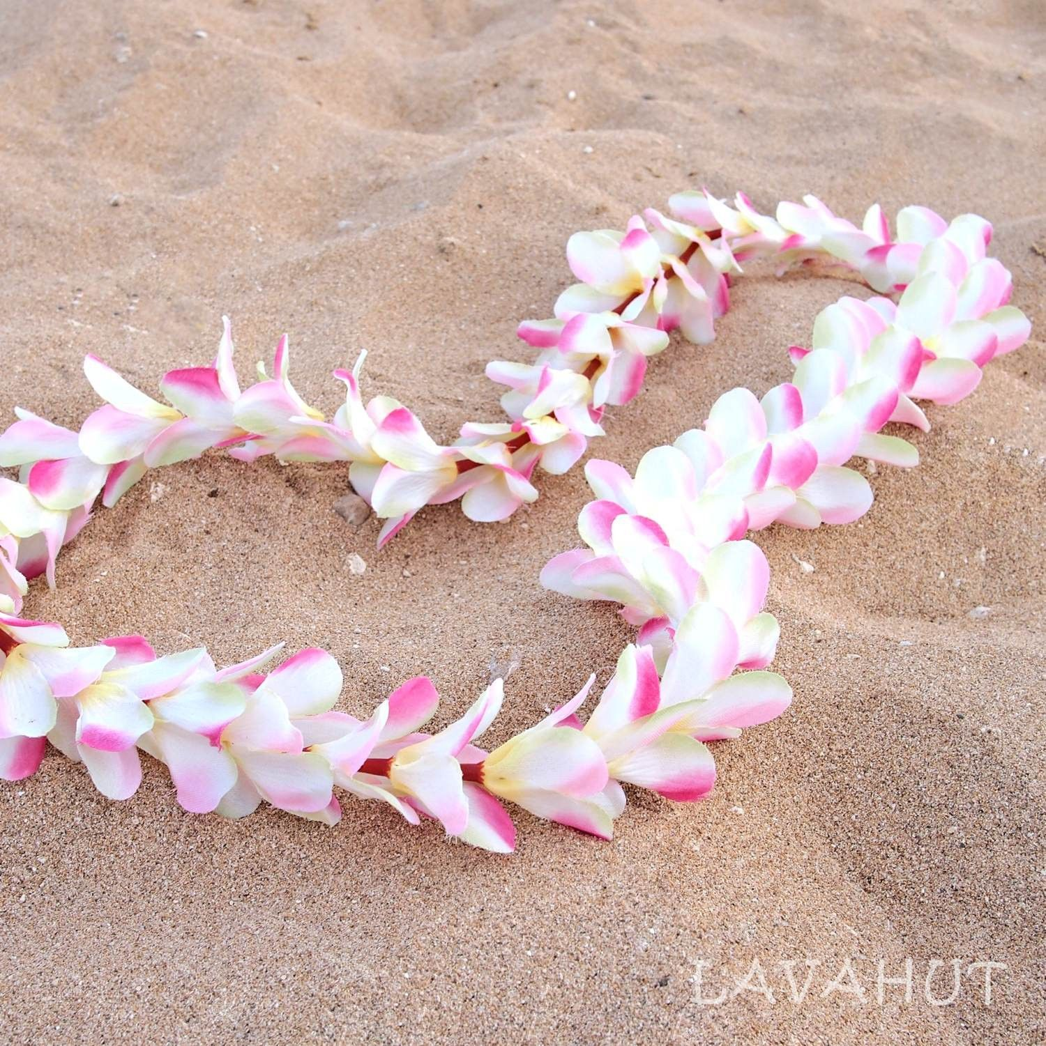 Hawaiian Flower Lei Silk Plumeria Flowers Length 44 Flowers