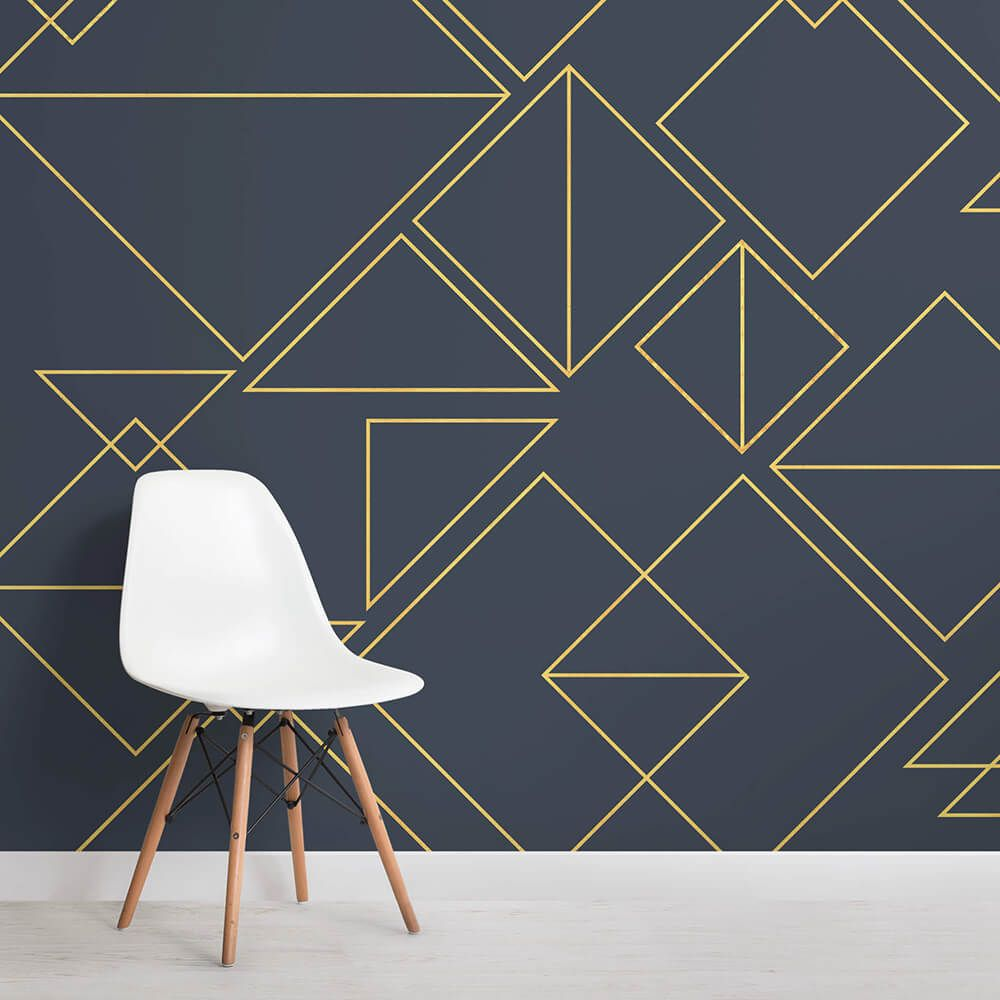 Nonagon Classic Navy Triangles Square Wall Mural Wall Murals Triangle Wall Modern Mural