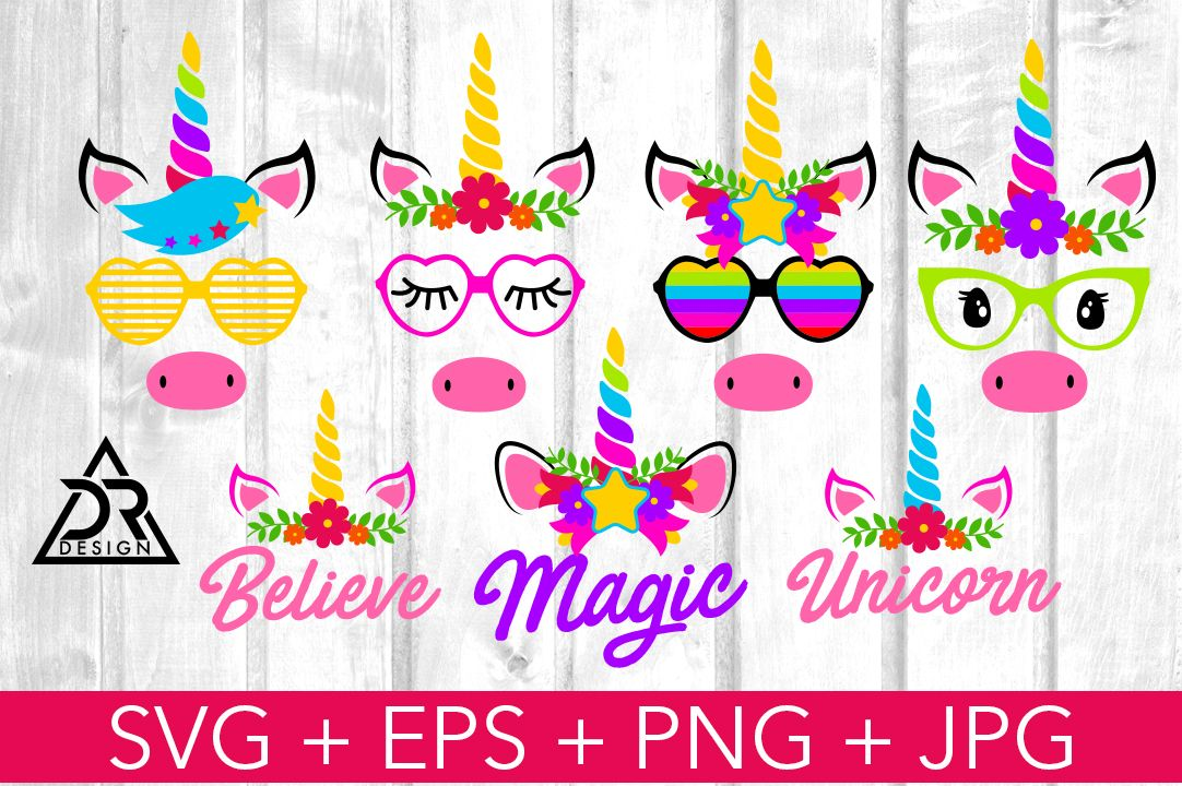 Unicorn Faces SVG Pack (Graphic) by davidrockdesign