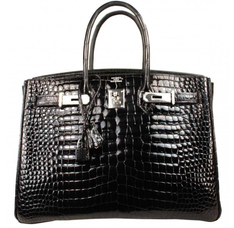 5a57f81b0102 Hermes Shiny Black Porosus Crocodile Birkin 35 Bag with Palladium Hardware  -and Smallest Scales Ever!