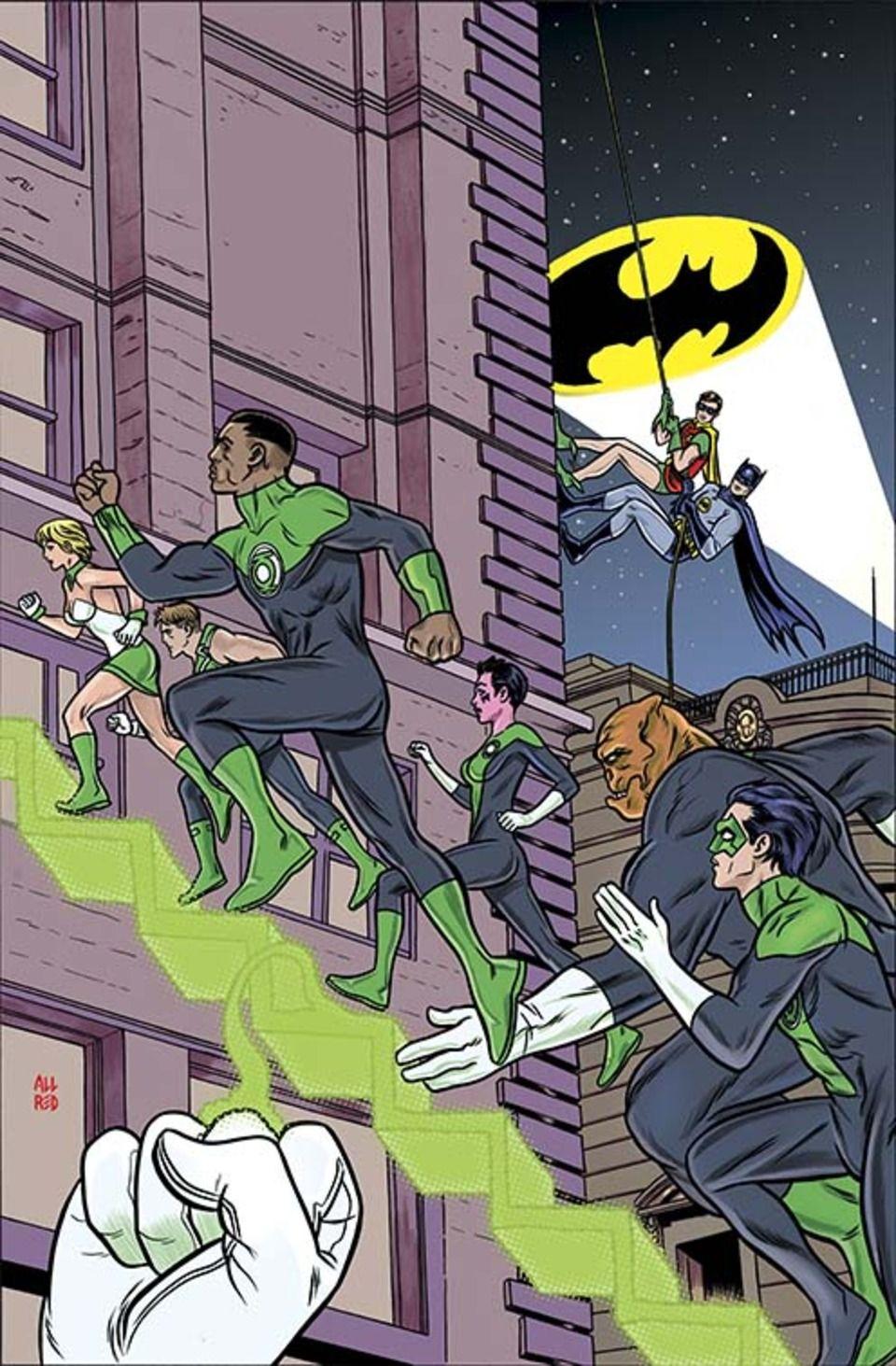 #Batman #And #Robin #Fan #Art. (GREEN LANTERN CORPS #31) By: Mike Allred. (THE * 5 * STÅR * ÅWARD * OF: * AW YEAH, IT'S MAJOR ÅWESOMENESS!!!™) ÅÅÅ+