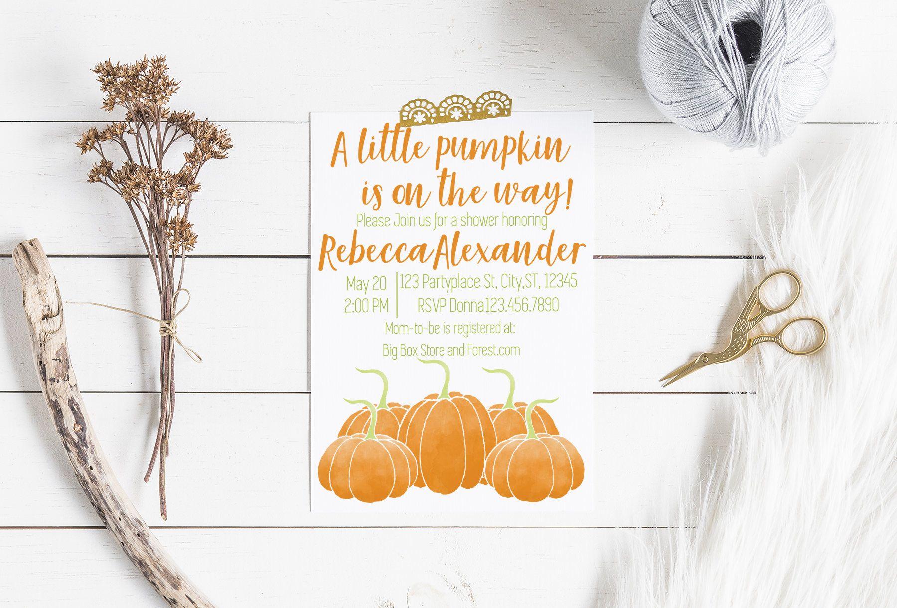 5X7 Pumpkin On The Way Baby Shower Invitation, Fall Baby