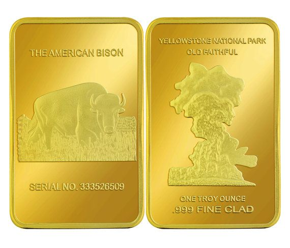 1oz Ounce Gold Yellowstone Buffalo Bar Mint Clad In By Puritest 47 99 Buffalo Bar Gold Investments Ounces