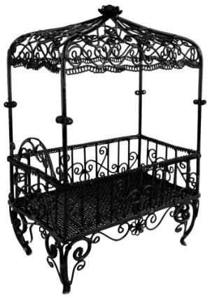Antique Black Rod Iron Crib With Canopy Home Decorating