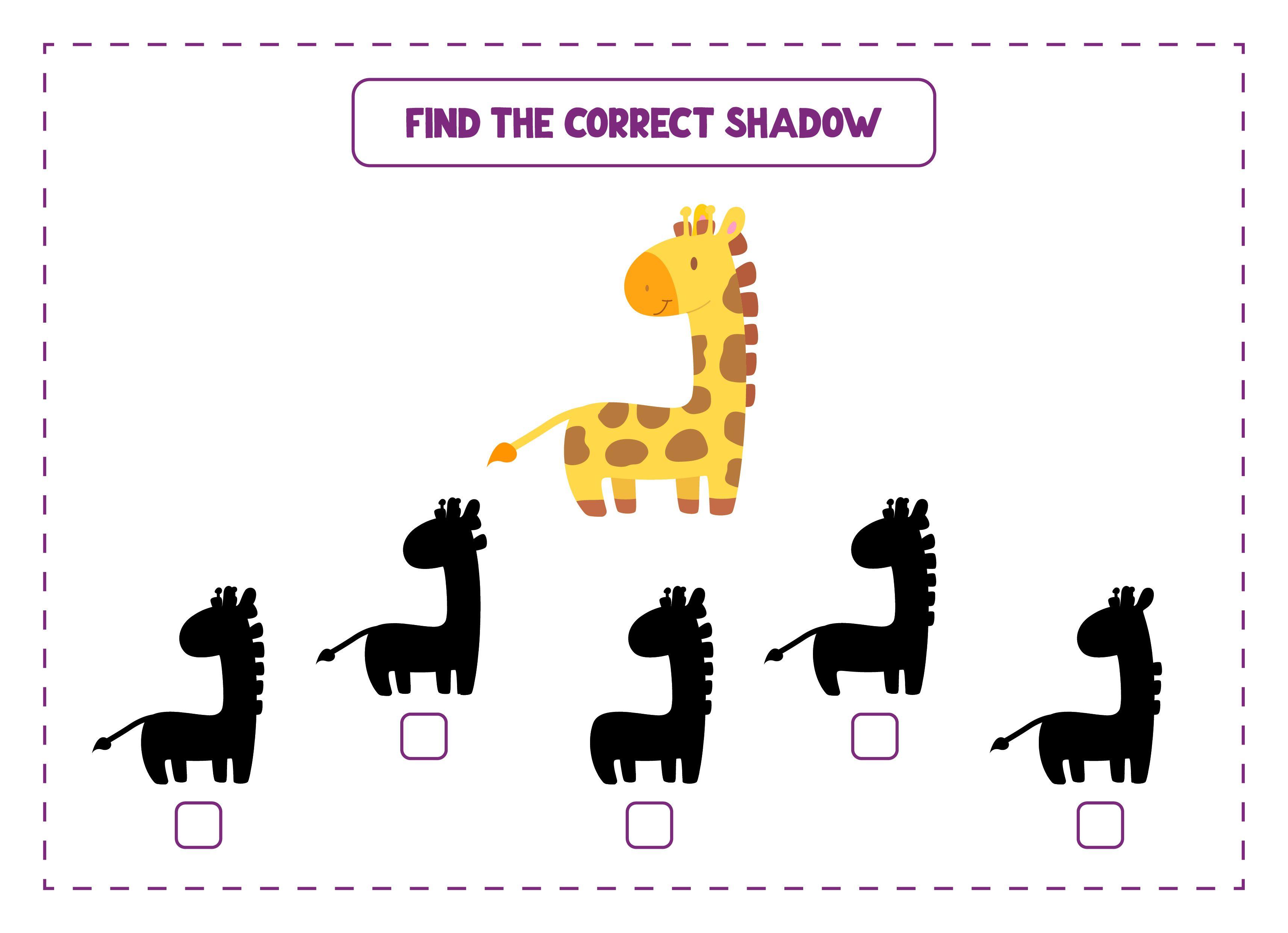 Find The Correct Shadow Game Worksheet Children