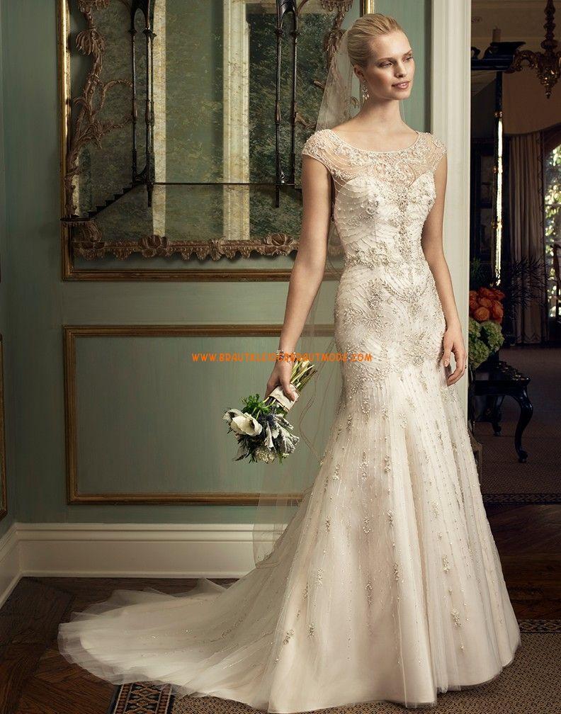 Meerjungfrau Luxuriöse Extravagante Brautkleider aus Tüll mit  Perlenstickerei d86fff4cd3