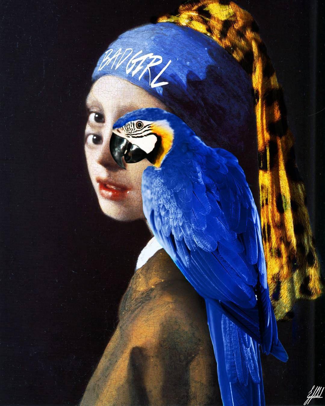 #girl #pearl #earring #vermeer #parrot #animal #art #artwork  Through the eyes of an animal.  Girl with a pearl earring by 17th-century Dutch painter Johannes Vermeer.