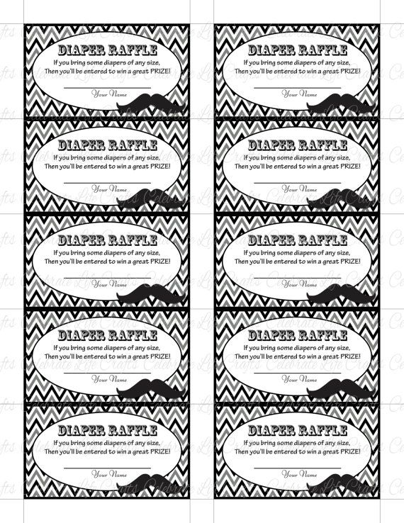 Printable Diaper Raffle Tickets For Baby By