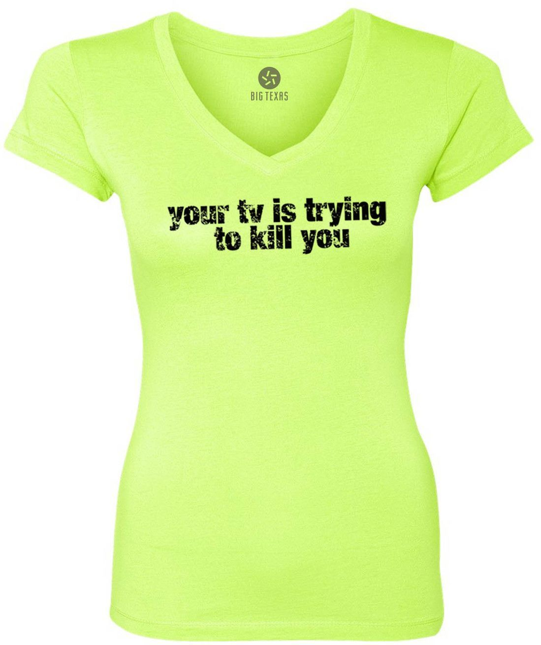 Your TV Is Trying to Kill You (Black) Women's Short-Sleeve V-Neck T-Shirt