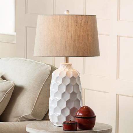 Kathy Ireland Honeycomb White Ceramic Table Lamp 8d348 Lamps Plus Ceramic Table Lamps Ceramic Table Modern Table Lamp