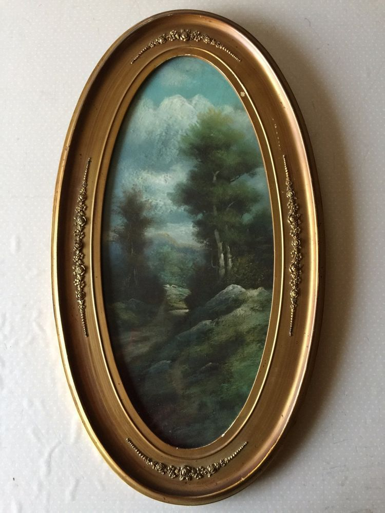 Antique Pastel Painting Landscape w/Oval Wooden Frame, 10 1/4\