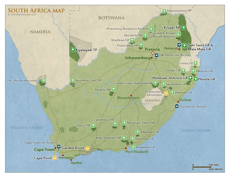 Map of South Africa with national parks and highlights for