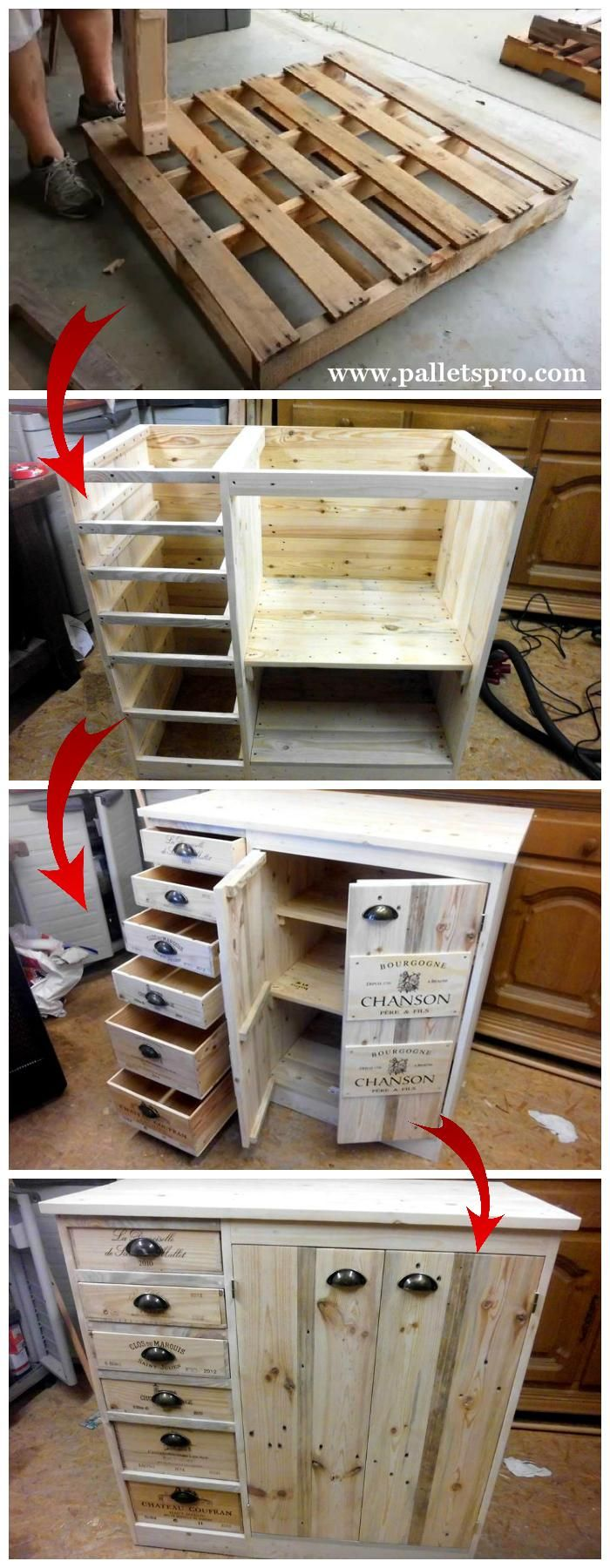 Pallet Chest of Drawers with Side Cabinet Tutorial #diypalletfurniture