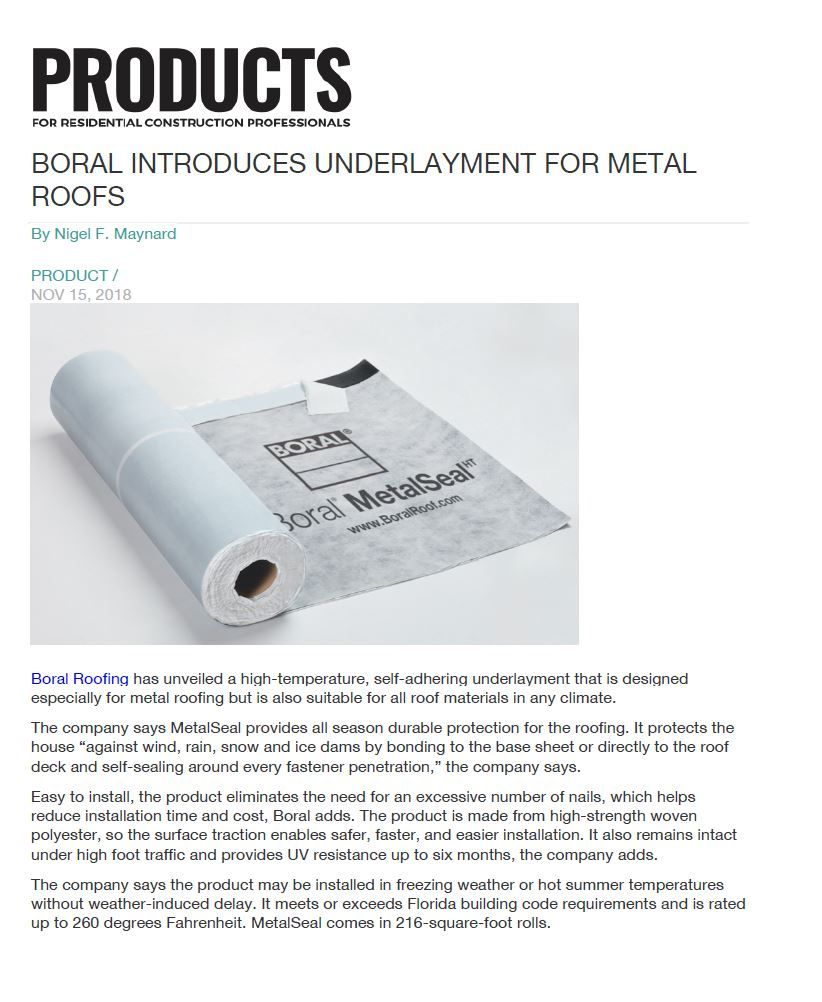 Boral Introduces Underlayment For Metal Roofs Metal Roof Underlayment Roofing Materials