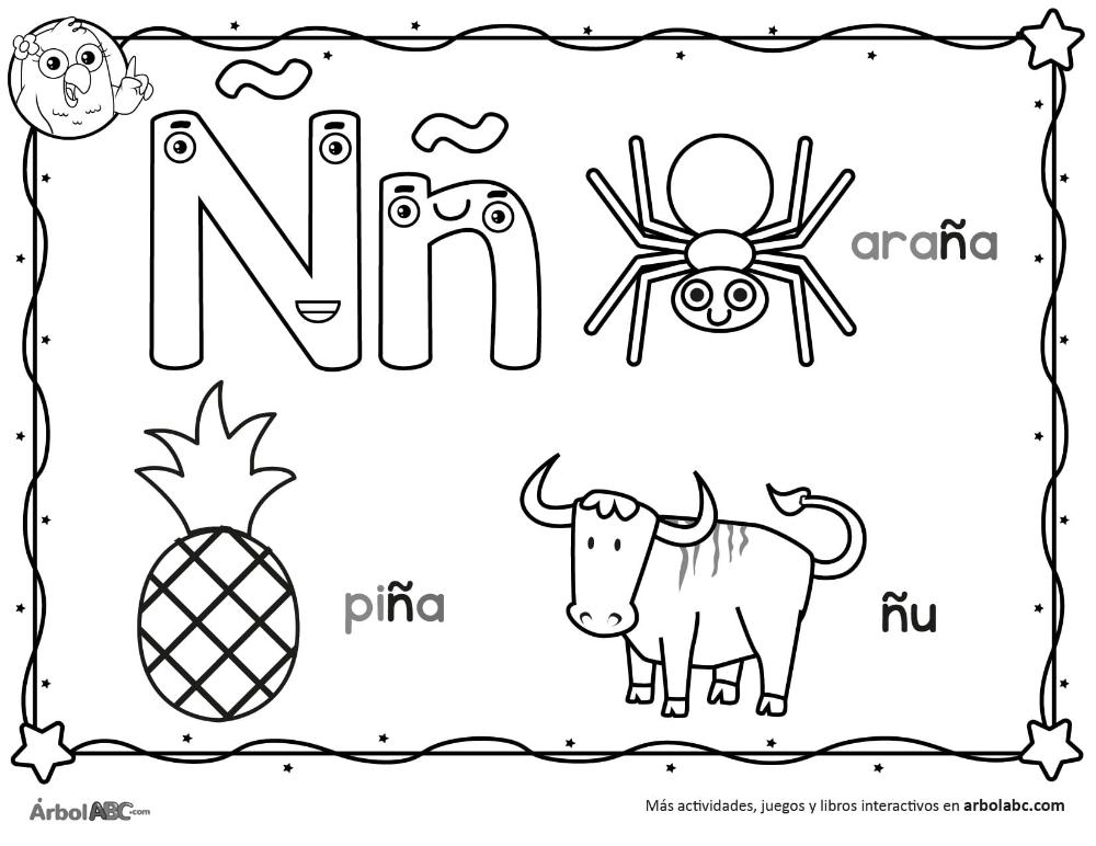Letra N Para Colorear Arbol Abc Letra N Actividades De Letras Imagenes Del Abecedario