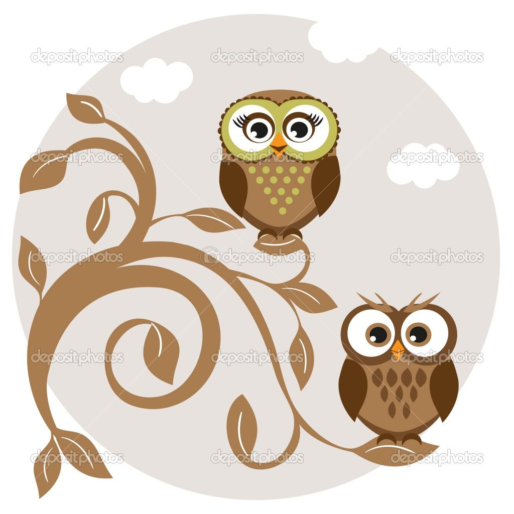 Cute owl drawings cute owls couple on the tree stock photo illustration of cute owls couple on the tree vector art clipart and stock vectors voltagebd Images