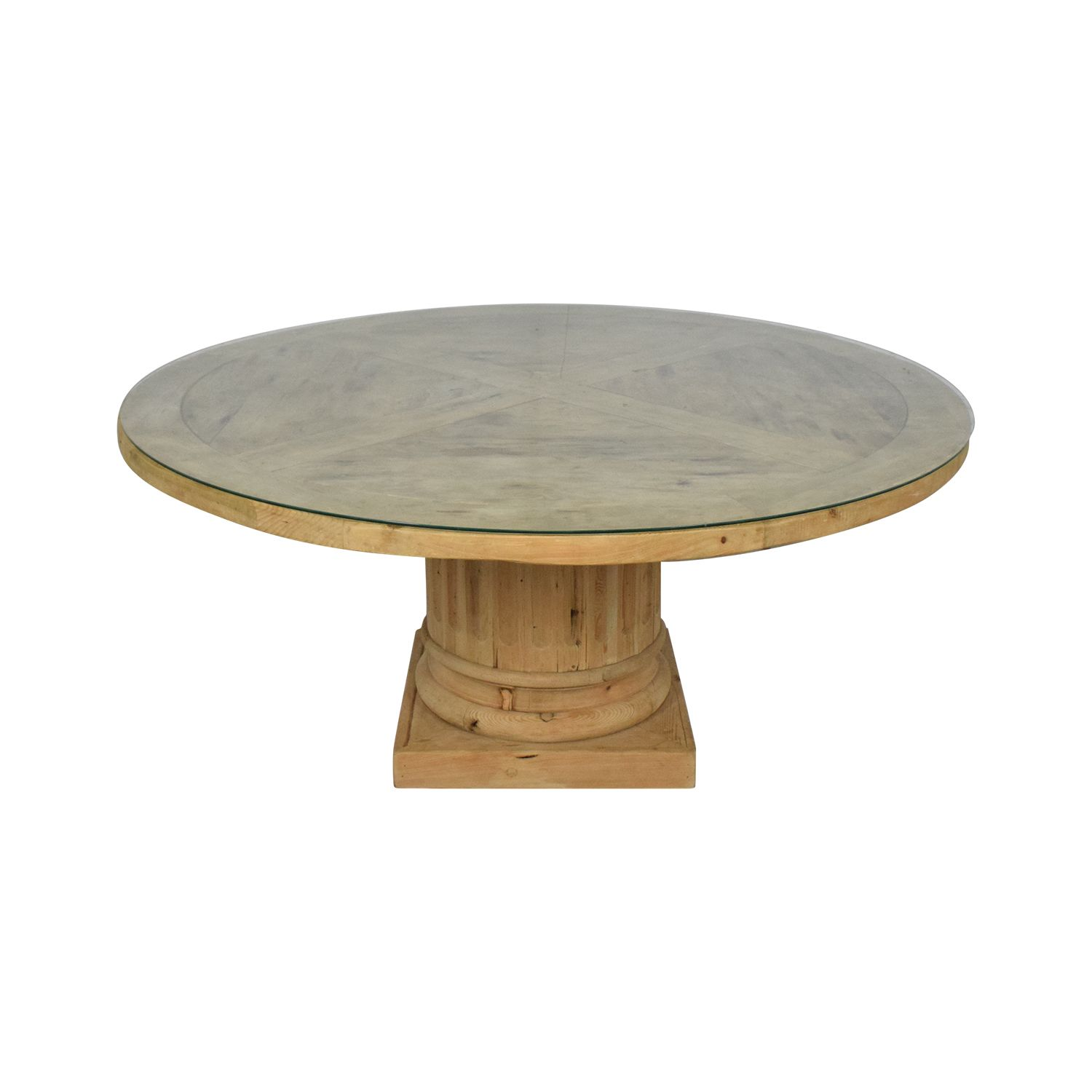 53% OFF - Restoration Hardware Restoration Hardware Salvaged Wood Architectural Column Dining Table / Tables #restorationhardware