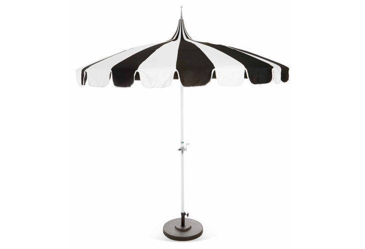Black And White Striped Outdoor Umbrela Patio Umbrella Outdoor
