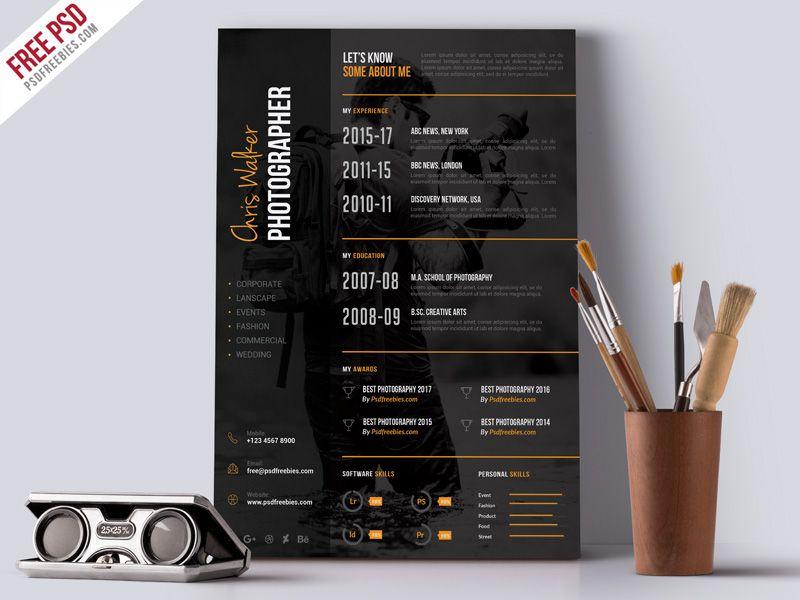 Photographer Resume Cv Psd Template Psdfreebies Com Photographer Resume Resume Design Free Resume Design Template