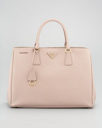 Love This Cream Pink Colour Saffiano Lux Tote Bag By Prada At Bergdorf Goodman