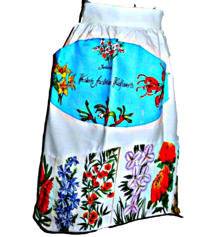 White half apron australia - Vintage Apron Half Apron Apron Souvenir Western Australia Wild Flowers Linen Apron By Treasurecoveally On Etsy
