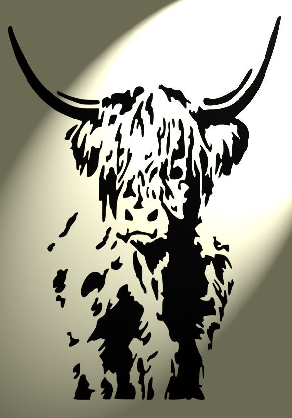 Brooke Hume Tattoo: Shabby Chic Highland Cow Cattle Stencil Vintage A4