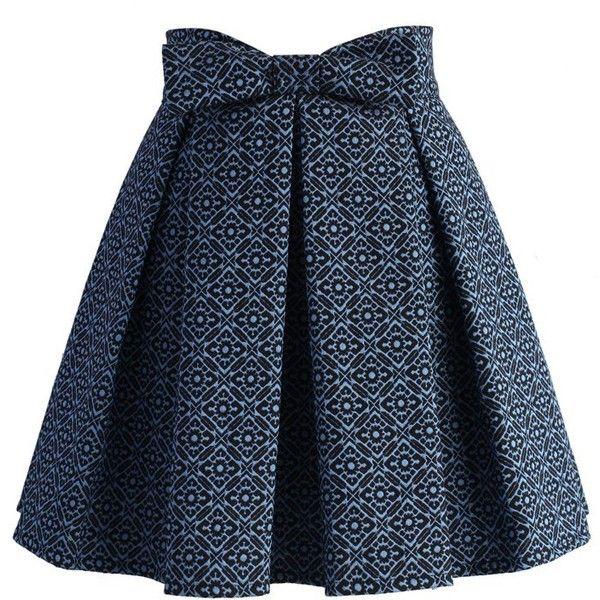Chicwish Sweet Your Heart Jacquard Skirt in Mosaic Pattern ($45) ❤ liked on Polyvore featuring skirts, blue, heart skirt, blue skirt et jacquard skirt