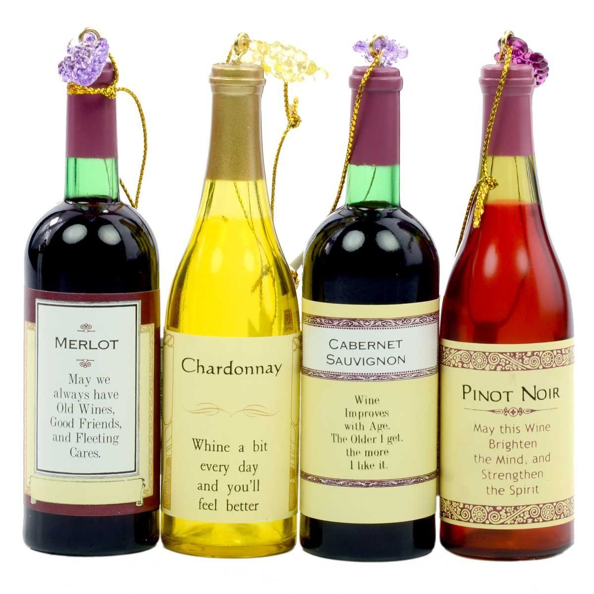 Wine bottle ornaments - Kurt Adler Wine Bottle Ornaments Set Of 4