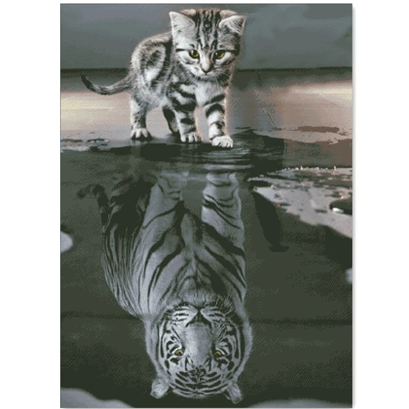Kitten Reflection In The Water Cross Stitch Package Sets Aida 18ct 14ct 11ct White Cloth Kit Embroidery Diy Handmade Needlework Cute Cat Gif Animals Cat Painting