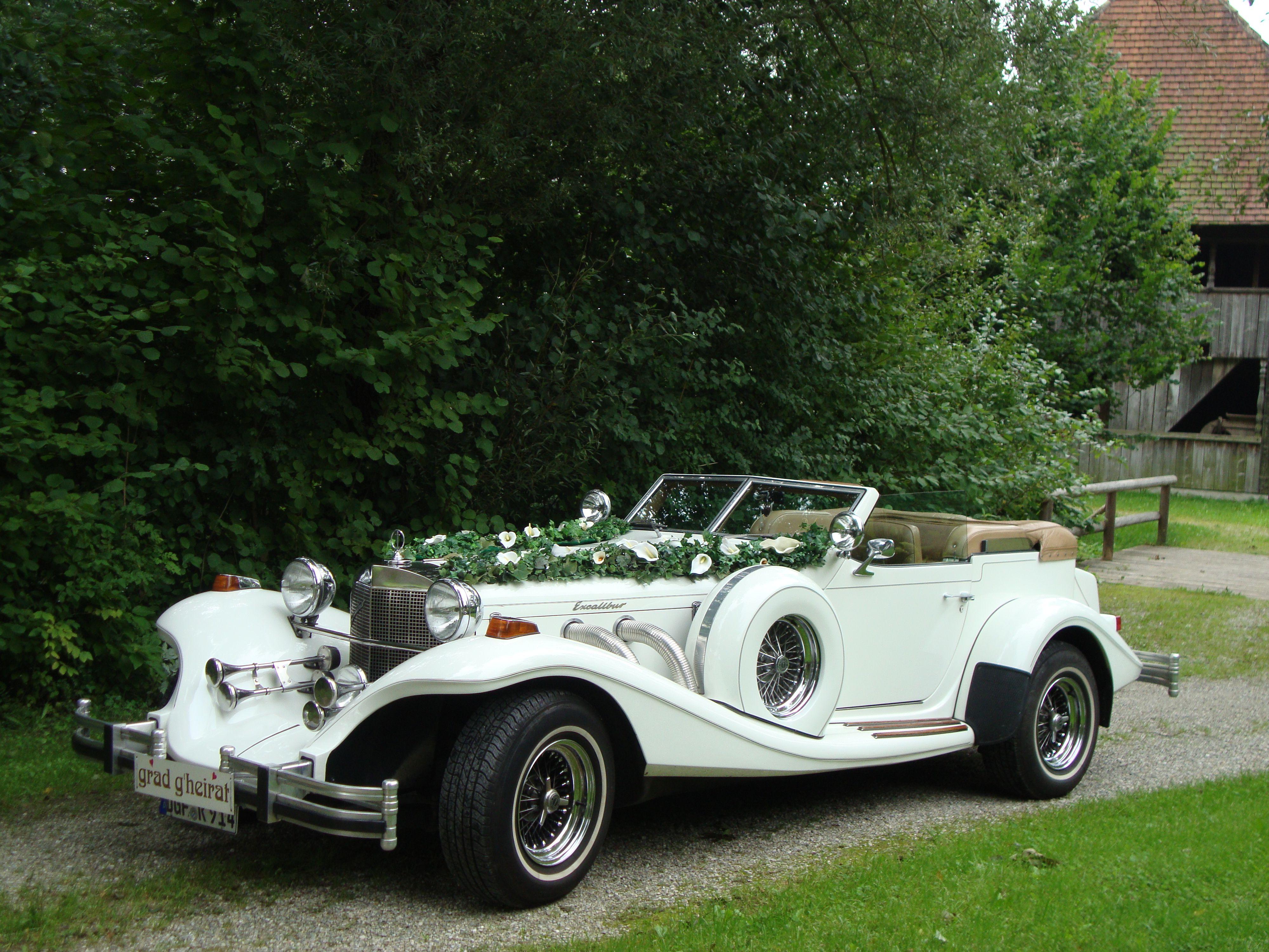 Hochzeitsauto Excalibur Cabrio Fur Hochzeiten Und Geburtstagausfahrten Hochzeit Auto Hochzeitswagen Stretchlimousine