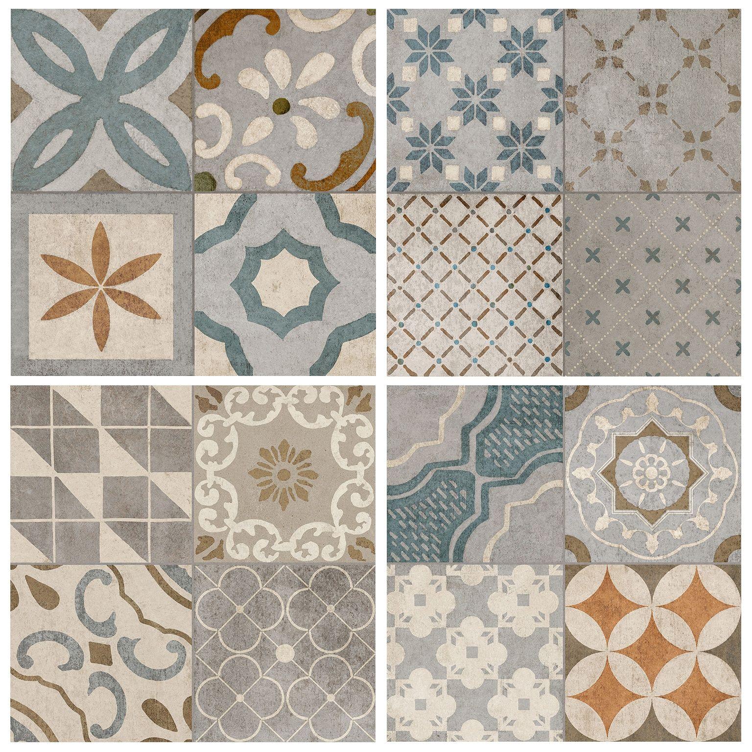 Vintage oyster tile cementine antique mix glazed for Loseta interceramic