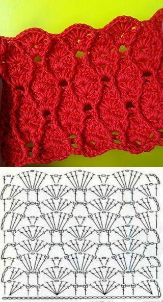 Punto Fantasía Crochet Ripple Crochet Stitches Motif Crochet Stitches Chart