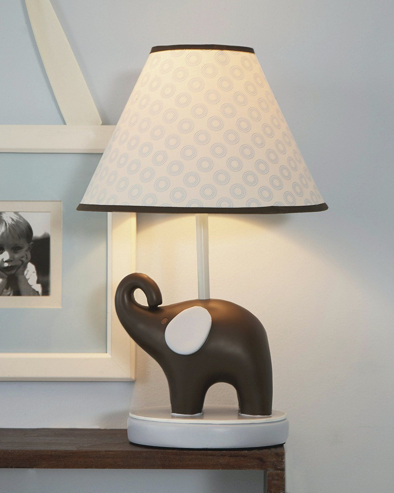 oval covering with table light lamp gray grey set yellow elephant acrylic of and lampshade parchment nursery