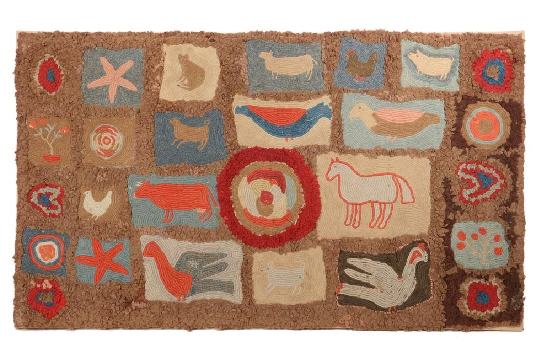 Stretched And Mounted Hooked Rug With Multiple Figural Motifs Set Into A Caramel Chenille Field Circa