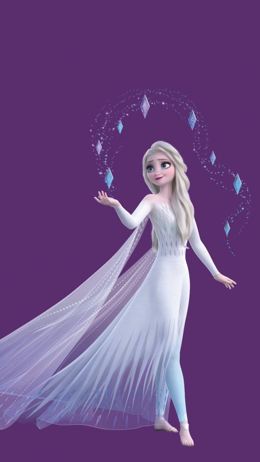 Frozen 2 Hd Wallpaper Elsa White Dress Hair Down Mobile In 2020 Disney Princess Pictures Disney Princess Drawings Disney Princess Frozen