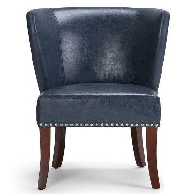Best Brennan Accent Chair Denim Blue Bonded Leather 400 x 300