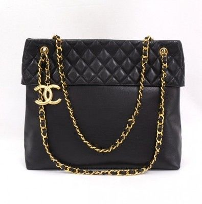 Chanel Black Quilted Leather Tote Bag Gold Chain CC Cb044 polyvore