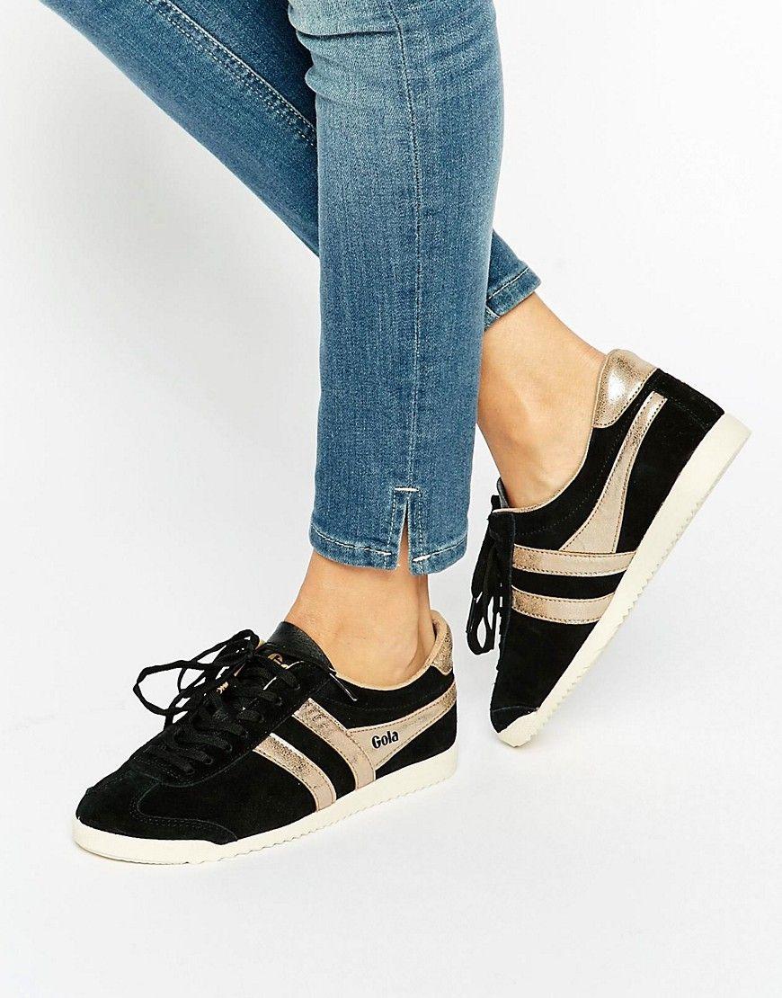 ¡Cómpralo ya!. Zapatillas de deporte clásicas en negro y dorado Bullet de  Gola. Zapatillas de deporte de Gola, Exterior de ante auténtico, ...