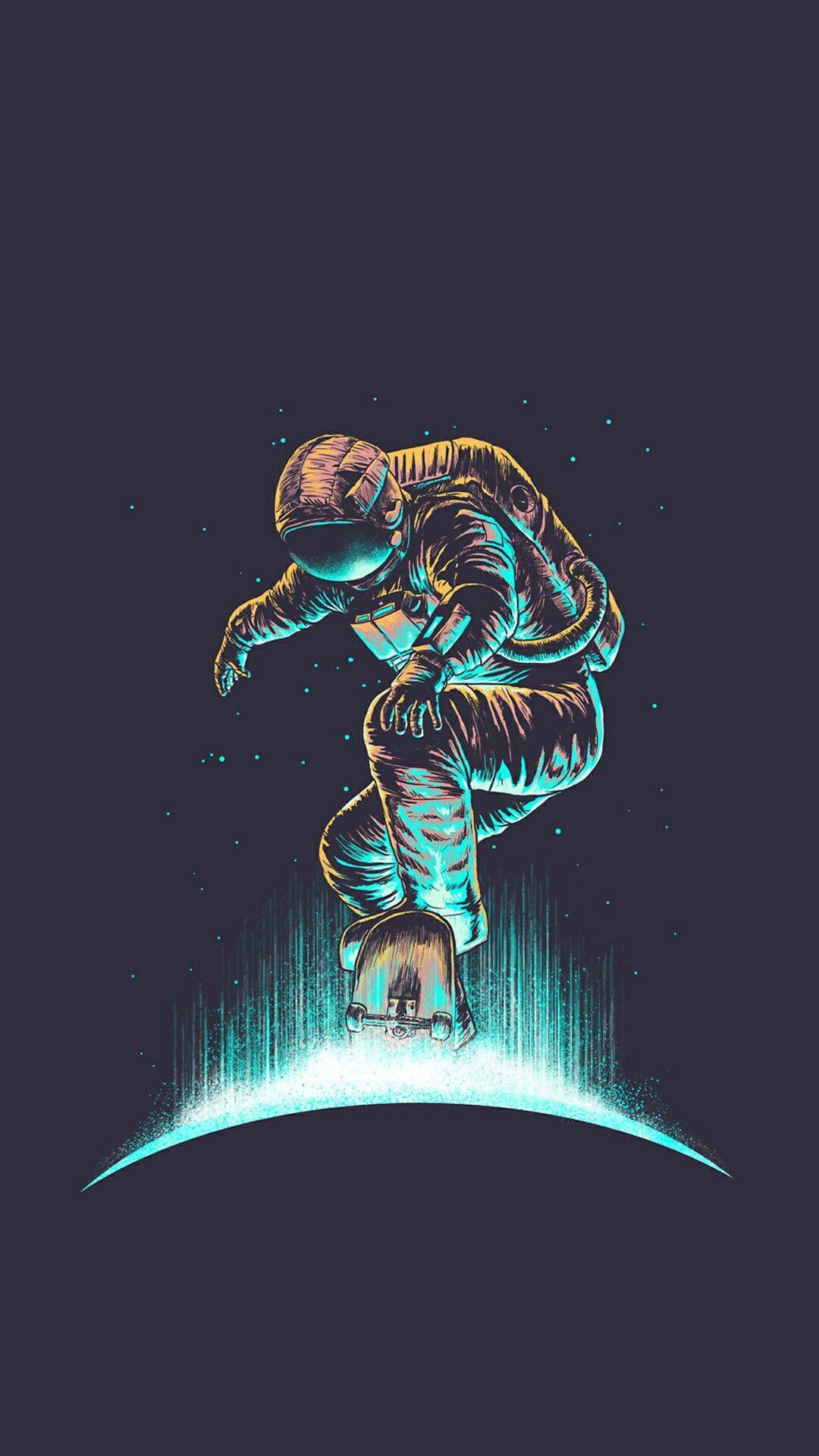 Skateboarding astronaut Astronaut art, Astronaut