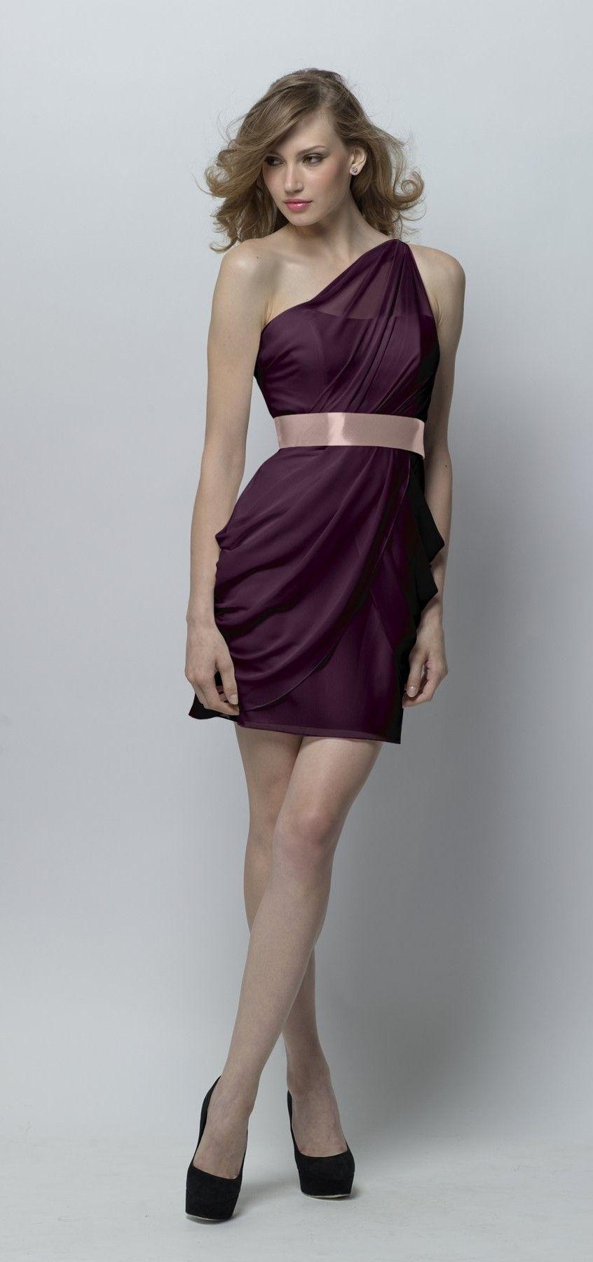 Wtoo - Purple crinkle chiffon one shoulder drape above-the-knee length dress