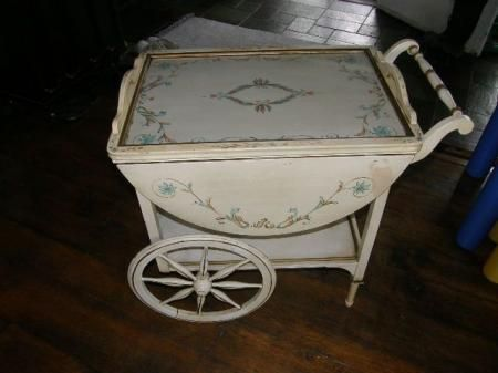 RARE FRENCH TOLE PAINTED TEA CART MID CENTURY YET SHABBY CHIC OR ANTIQUE TABLE in Antiques, Furniture, Tables