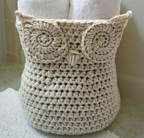 'This monochromatic crochet Owl Basket Kit is whimsically chic and is perfect for storing household odds and ends like towels, office supplies and kid's toys. Using thick and sturdy Cascade Ecological yarn, this basket stands up on its own and collapse flat when not needed. Click: http://craftsy.me/19ymJMF'