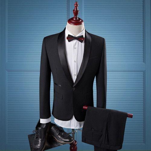 Men Black Wedding Prom Suits S-4XL Fashion Shawl Collar Men Tuxedo ...