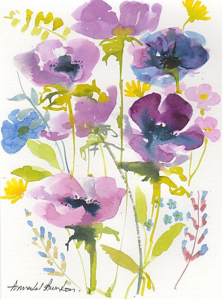 Signed Original Watercolour Spring Flowers By Annabel Burton