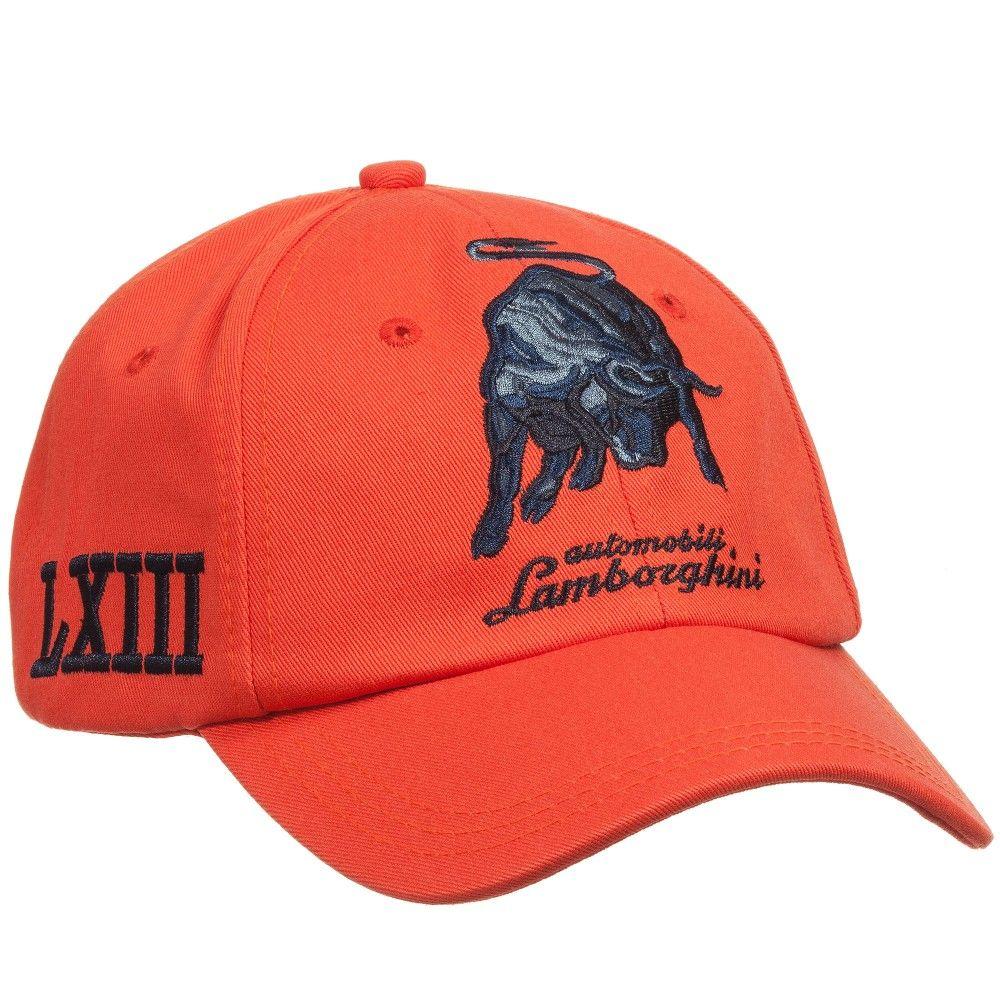 automobili lamborghini boys orange cotton logo cap   caps gorras