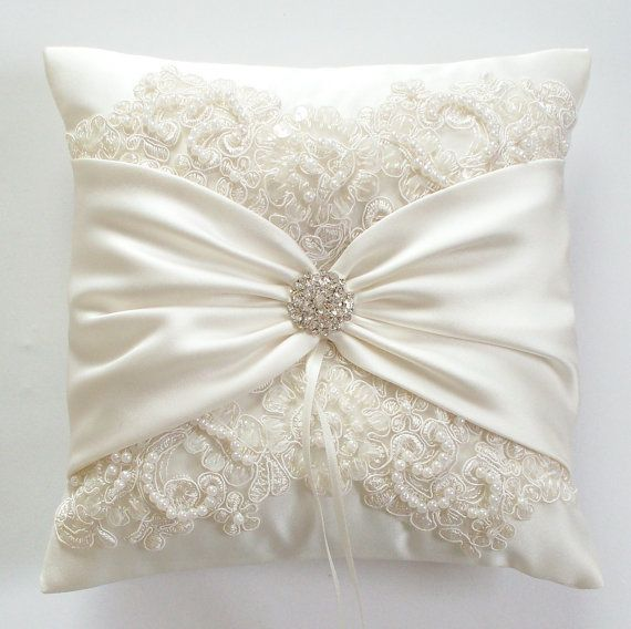 Wedding Pillow Wedding Cushion Lace Pillow Ivory Satin And Beaded Alencon Lace Ivory Satin Sash Cinched By Crystals The Miranda Pillow Almohadas Nupciales Boda Almohada Anillo Cojines De Boda