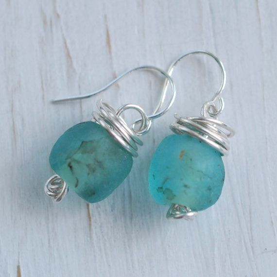 recycled glass bead earrings in sterling by suegrayjewelry on Etsy