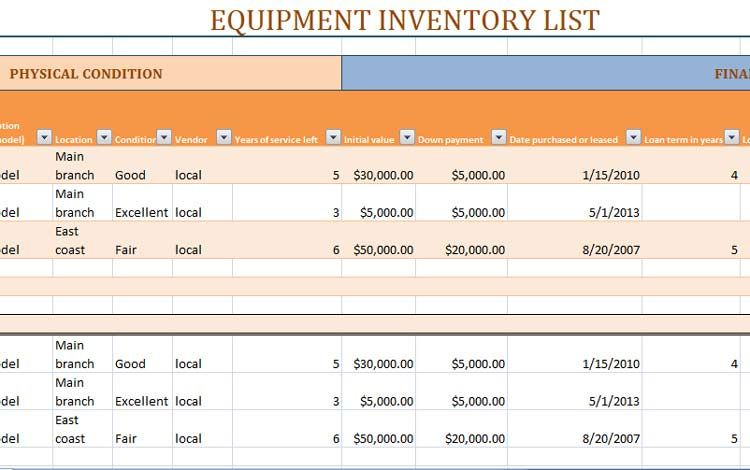 Equipment Material Stock Inventory Template Excel  Exceltemp