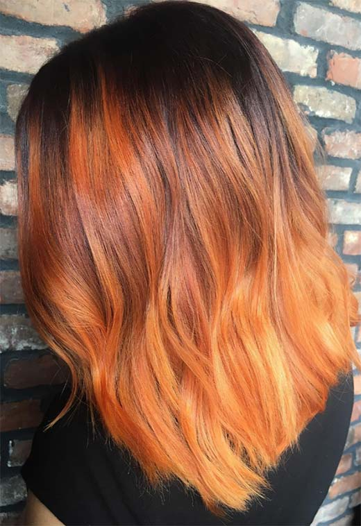 cut and color #copperbalayage Grape and Orange Copper Balayage #copperbalayage