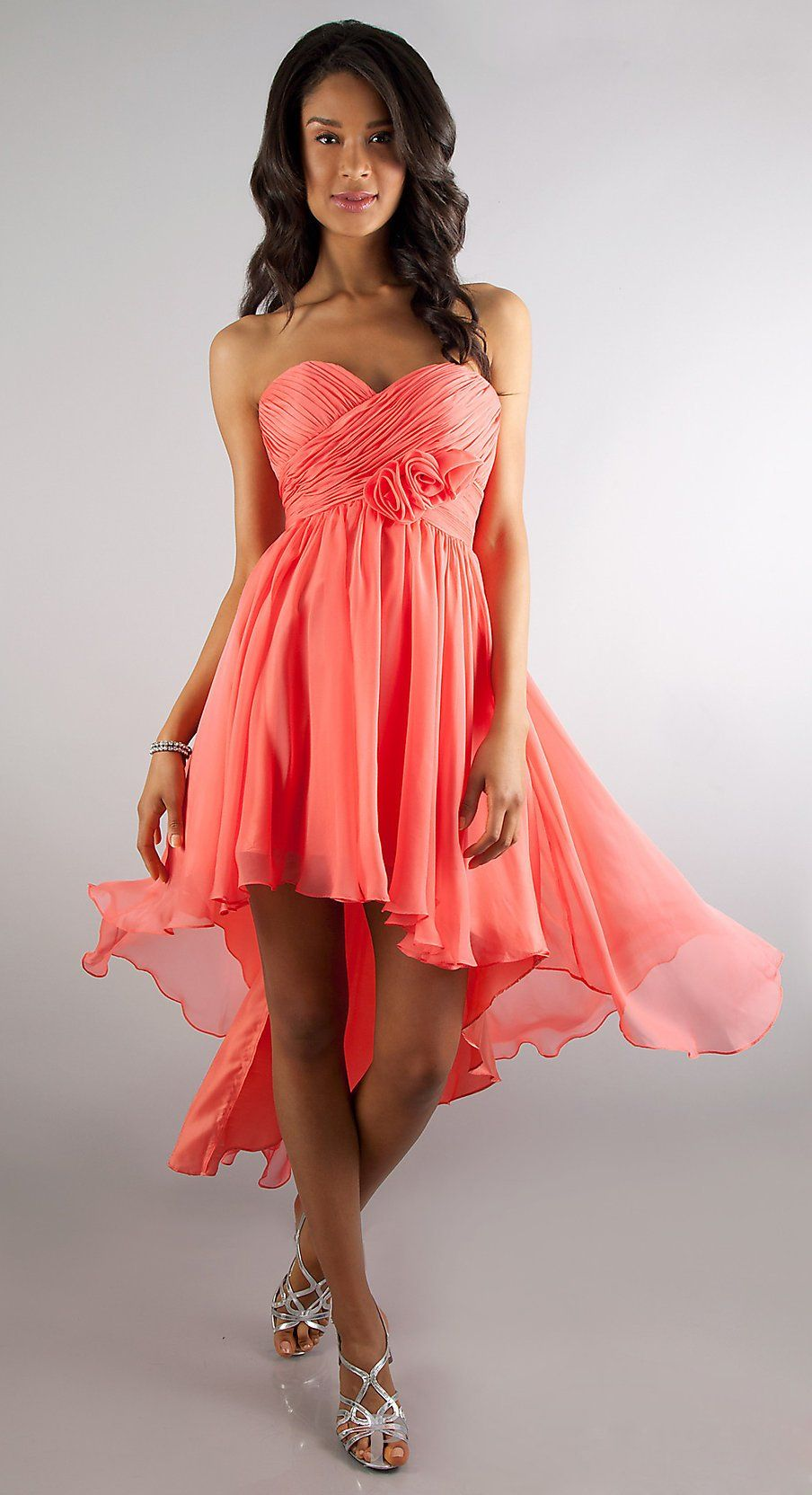 A line high low coral semi formal dress chiffon strapless empire a line high low coral semi formal dress chiffon strapless empire 12999 ombrellifo Image collections
